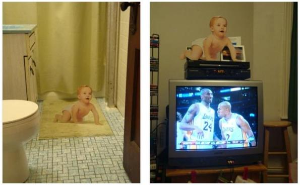 Instant Infant hangs out in the bathroom, likes sports, & apparently is not afraid of heights.