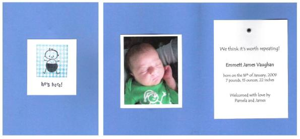 Birth Announcement (Left: Cover; Right: Inside)