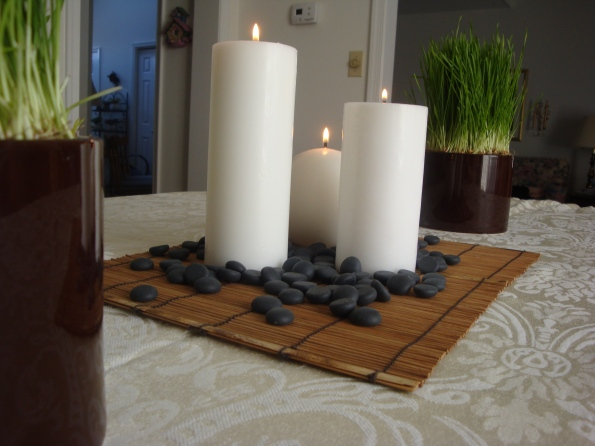 Spa Candles and Wheat Grass