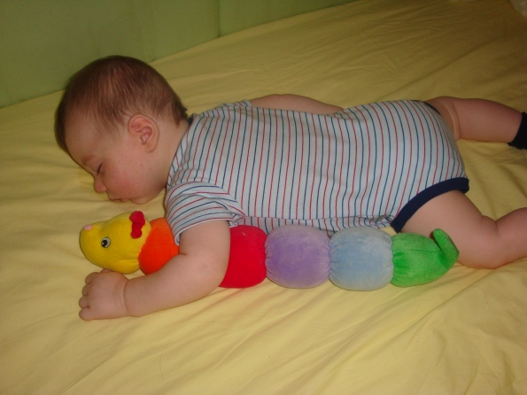 Nap with his caterpillar.