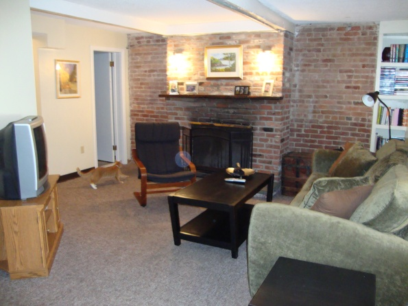 Our living room with exposed brick and a working fireplace!