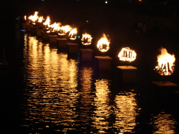 Lit WaterFire braziers