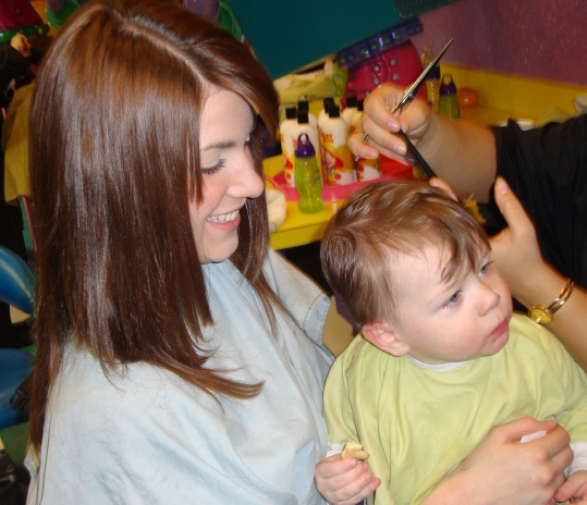 First Haircut on Mom's Lap