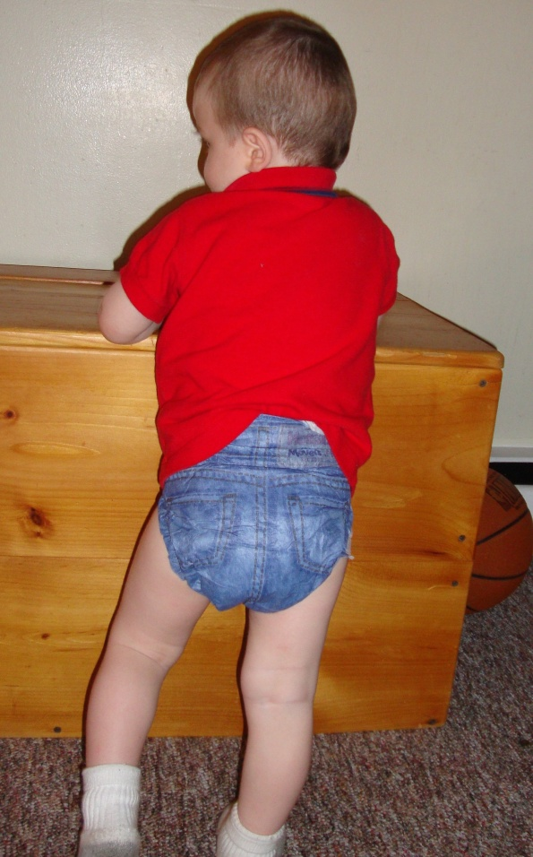 toddler in Huggies Jeans diaper