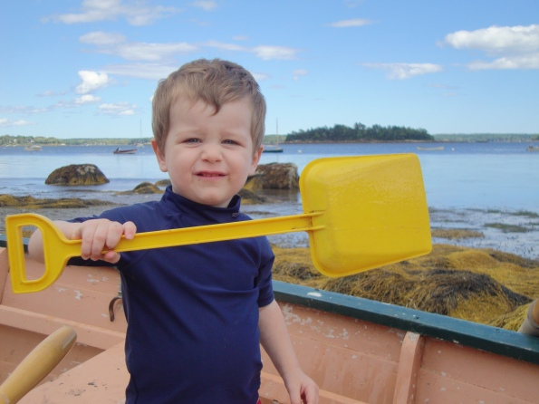 Toddler with Shovel
