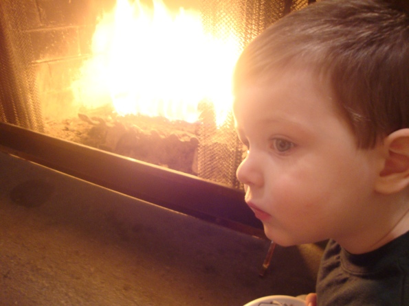 toddler, fireplace